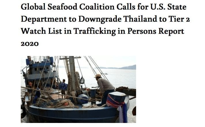 Seafood Working Group Assessment of Thailand's Efforts to Combat Trafficking