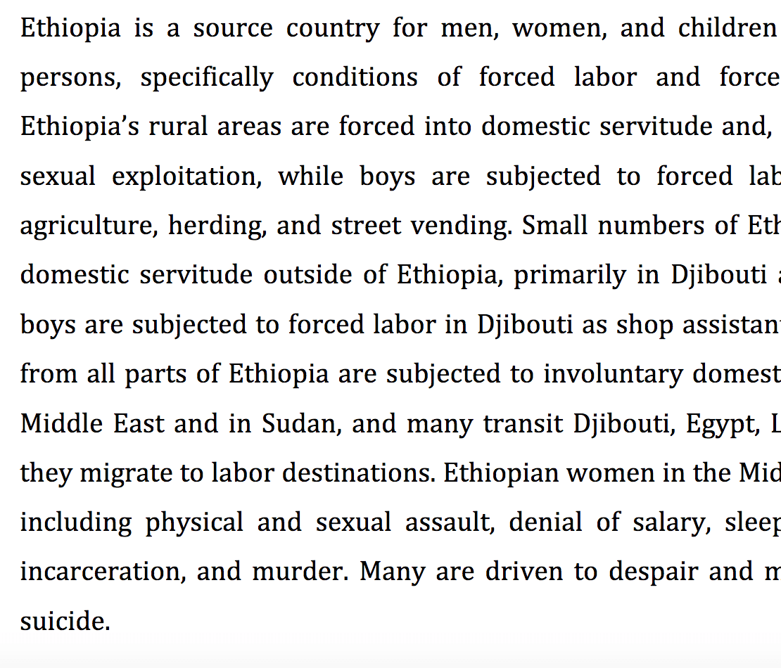 Root causes and solutions to human trafficking in Ethiopia