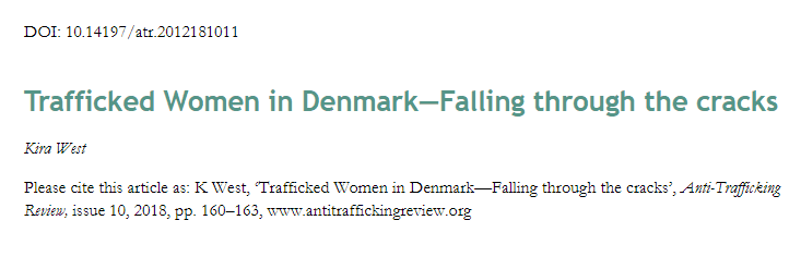 Trafficked Women in Denmark—Falling through the cracks