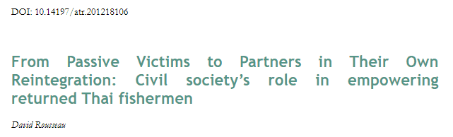From Passive Victims to Partners in Their Own Reintegration: Civil society's role in empowering returned Thai fishermen