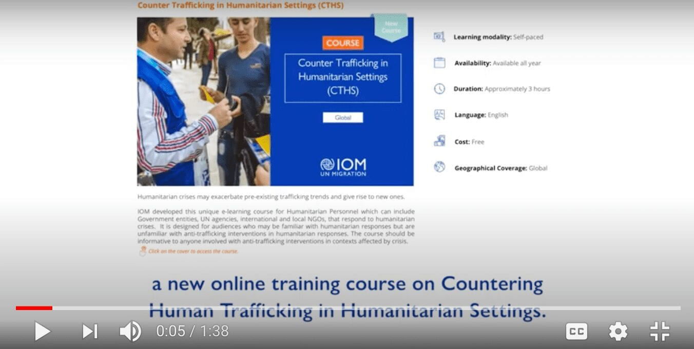 Online Course on Counter Trafficking in Humanitarian Settings