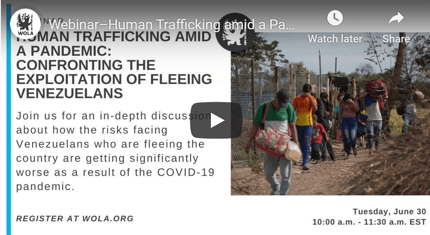 Human Trafficking amid a Pandemic: Confronting the Exploitation of Fleeing Venezuelans