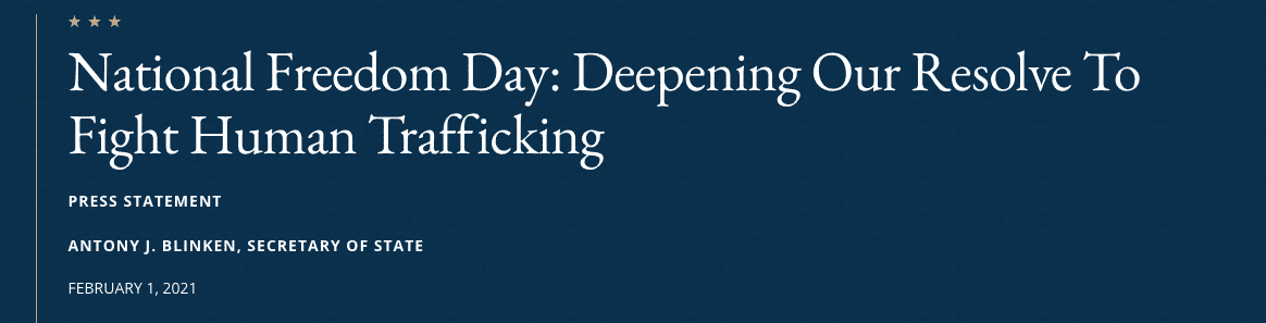 National Freedom Day: Deepening Our Resolve To Fight Human Trafficking