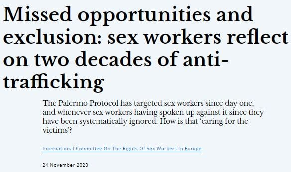 Missed opportunities and exclusion: sex workers reflect on two decades of anti-trafficking