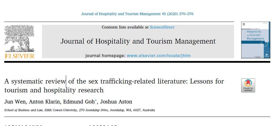 A systematic review of the sex trafficking-related literature: Lessons for tourism and hospitality research