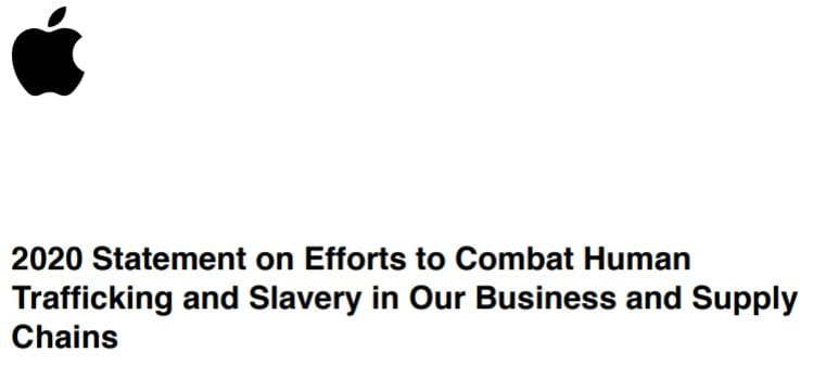 2020 Statement on Efforts to Combat Human Trafficking and Slavery in Our Business and Supply Chains