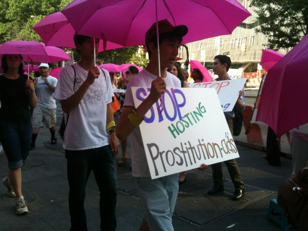 Activists protest Backpage's underage prostitution ads in 2012.