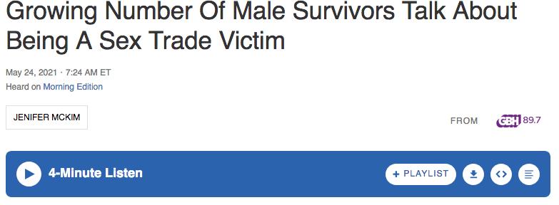 NPR segment on male sex trafficking victims