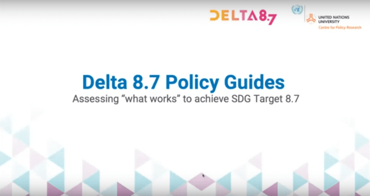 """Delta 8.7 Policy Guides: Assessing """"What Works"""" to Achieve SDG Target 8.7"""