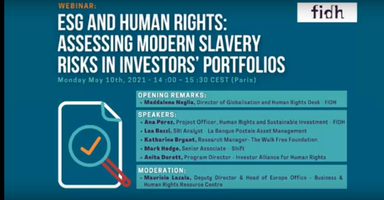 ESG and Human Rights: assessing modern slavery risks in investors' portfolios