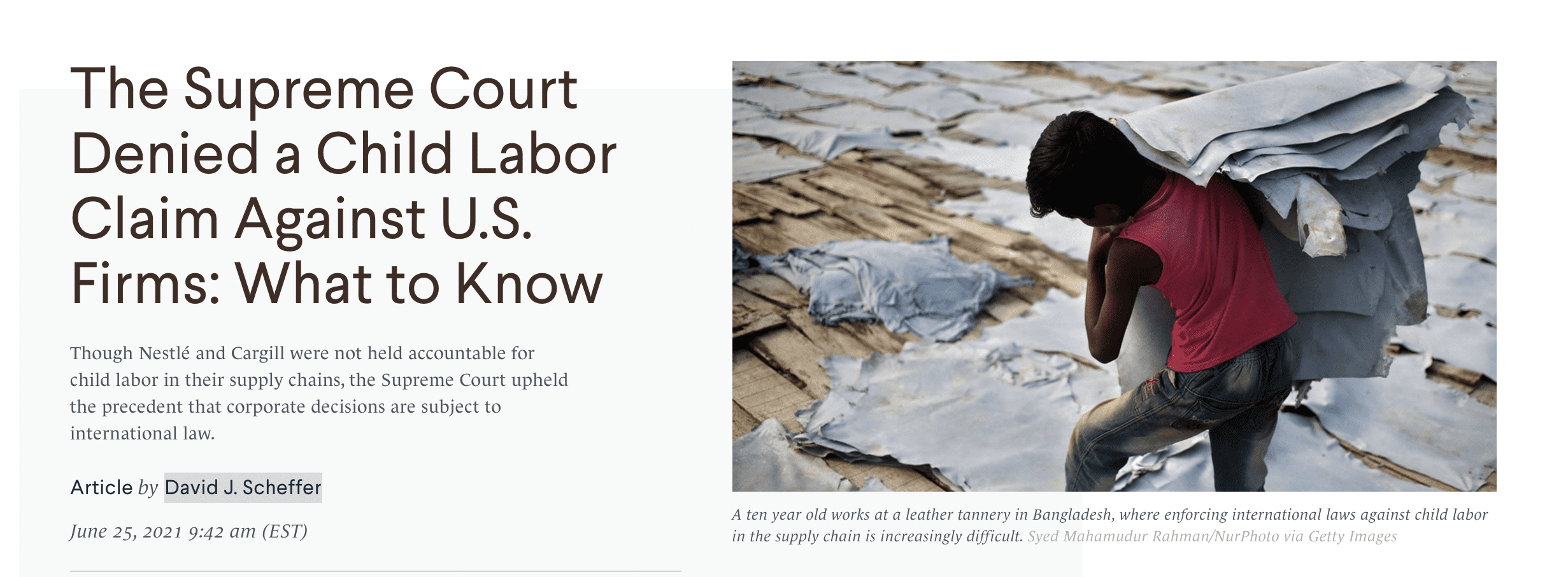 The Supreme Court Denied a Child Labor Claim Against U.S. Firms: What to Know