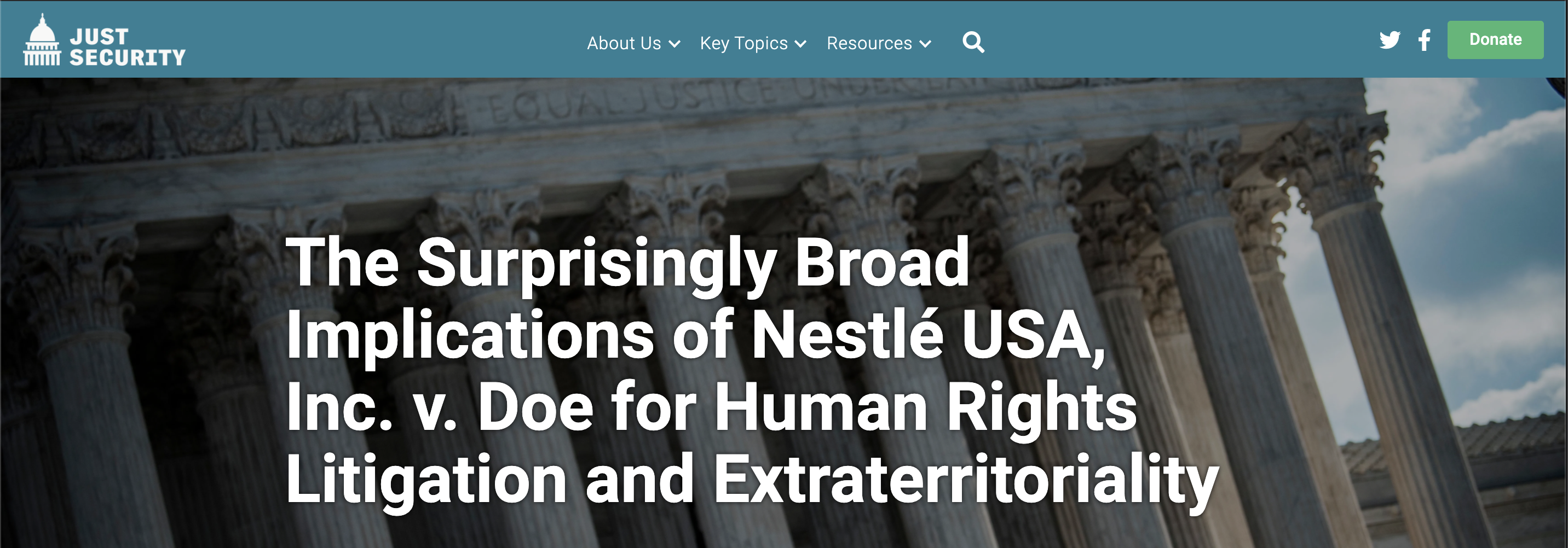 The Surprisingly Broad Implications of Nestlé USA, Inc. v. Doe for Human Rights Litigation and Extraterritoriality