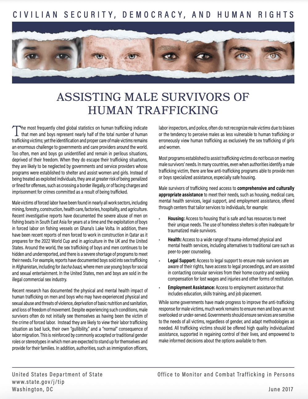 Assisting Male Survivors of Human Trafficking