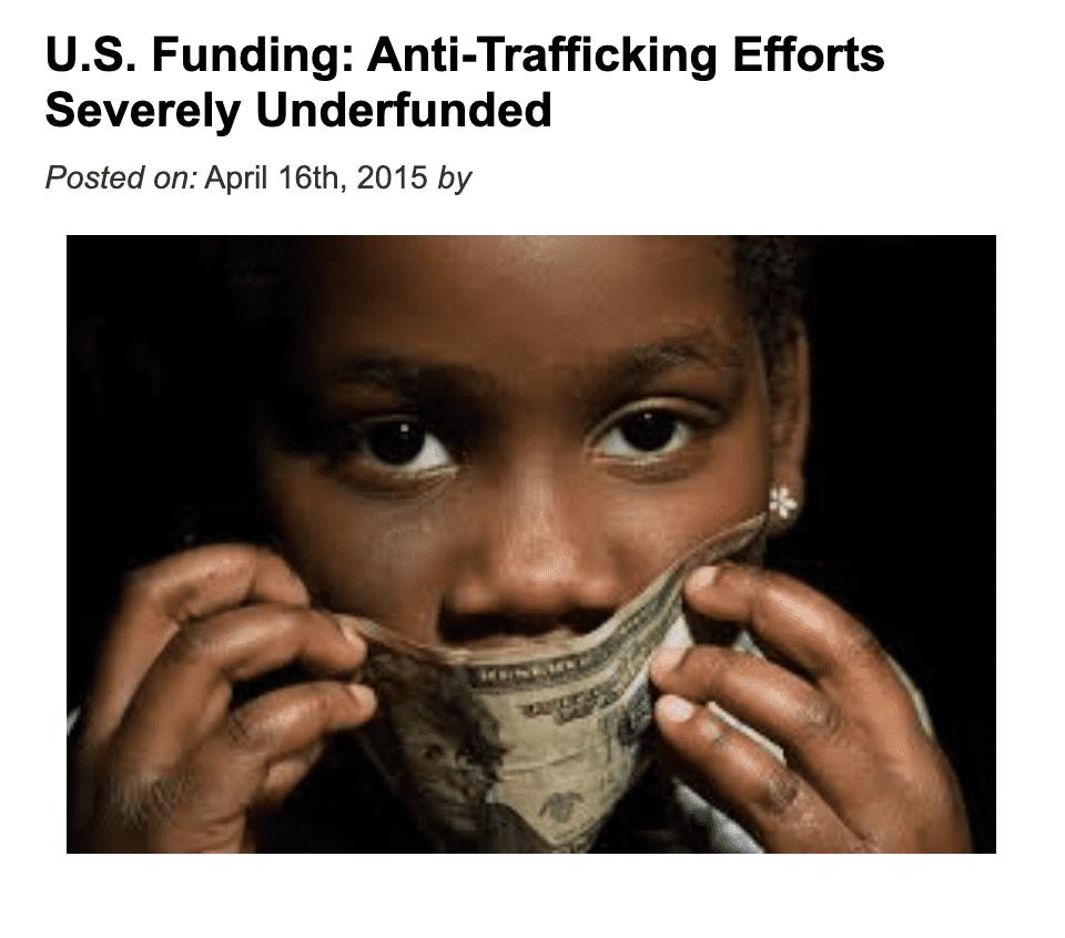 U.S. Funding: Anti-Trafficking Efforts Severely Underfunded
