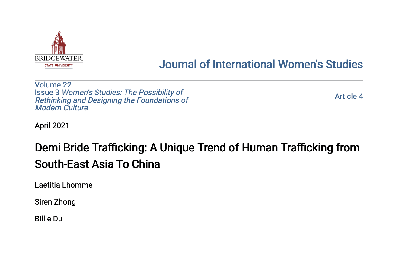Demi Bride Trafficking: A Unique Trend of Human Trafficking from South-East Asia To China