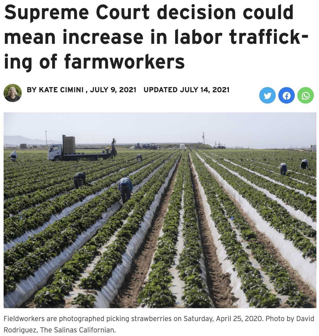 Supreme Court decision could mean increase in labor trafficking of farmworkers