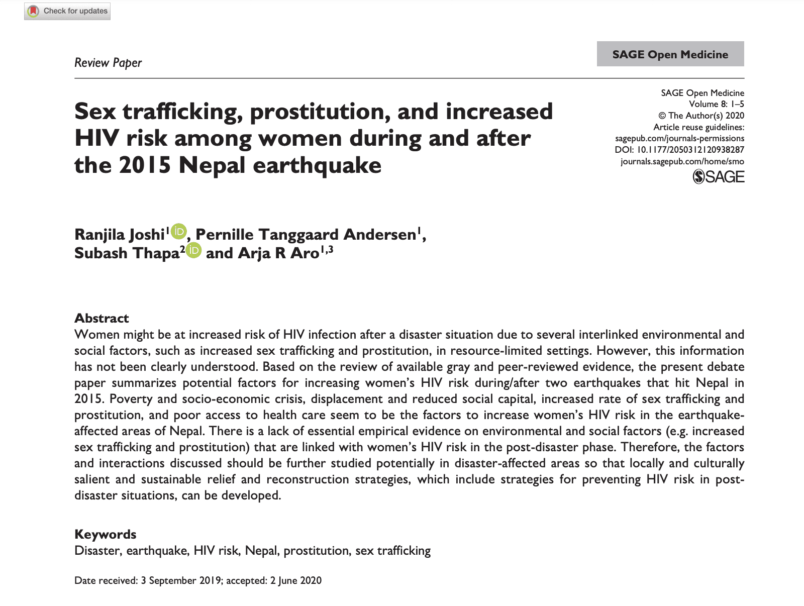 Sex trafficking, prostitution, and increased HIV risk among women during and after the 2015 Nepal earthquake