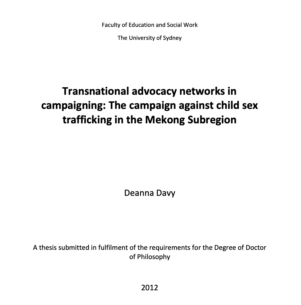 Transnational advocacy networks in campaigning: The campaign against child sex trafficking in the Mekong Subregion