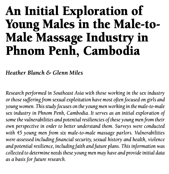 An Initial Exploration of Young Males in the Male-to-Male Massage Industry in Phnom Penh, Cambodia