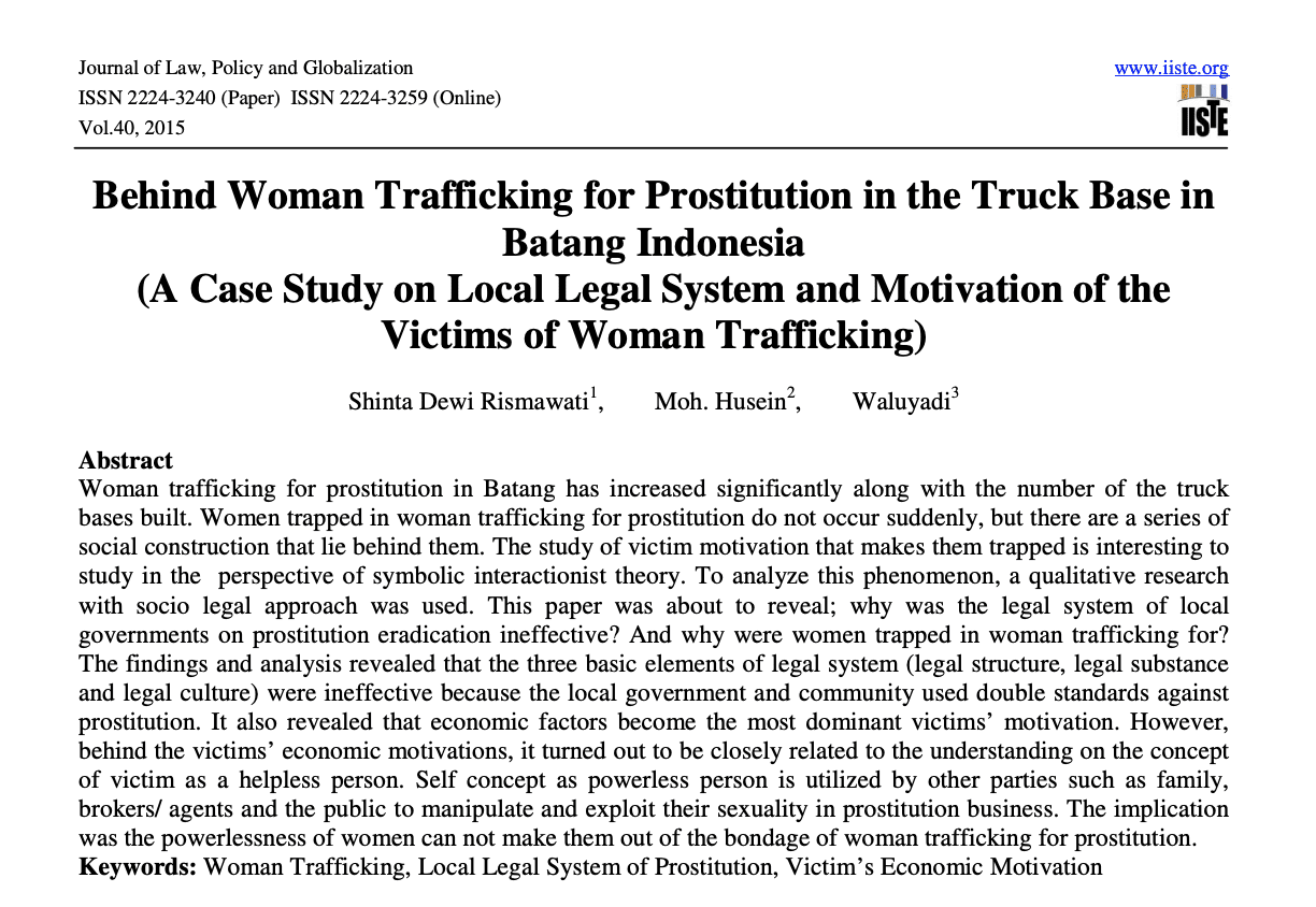 Behind Woman Trafficking for Prostitution in the Truck Base in Batang Indonesia