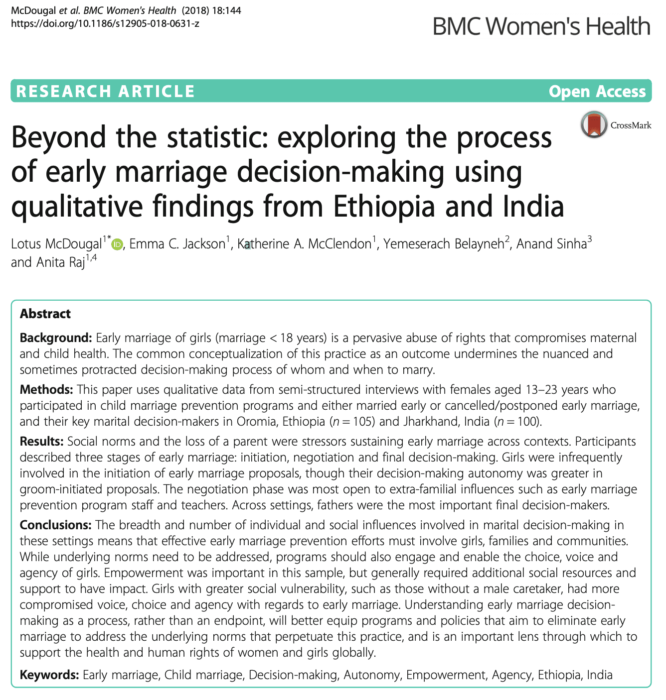 Beyond the statistic: exploring the process of early marriage decision-making using qualitative findings from Ethiopia and India
