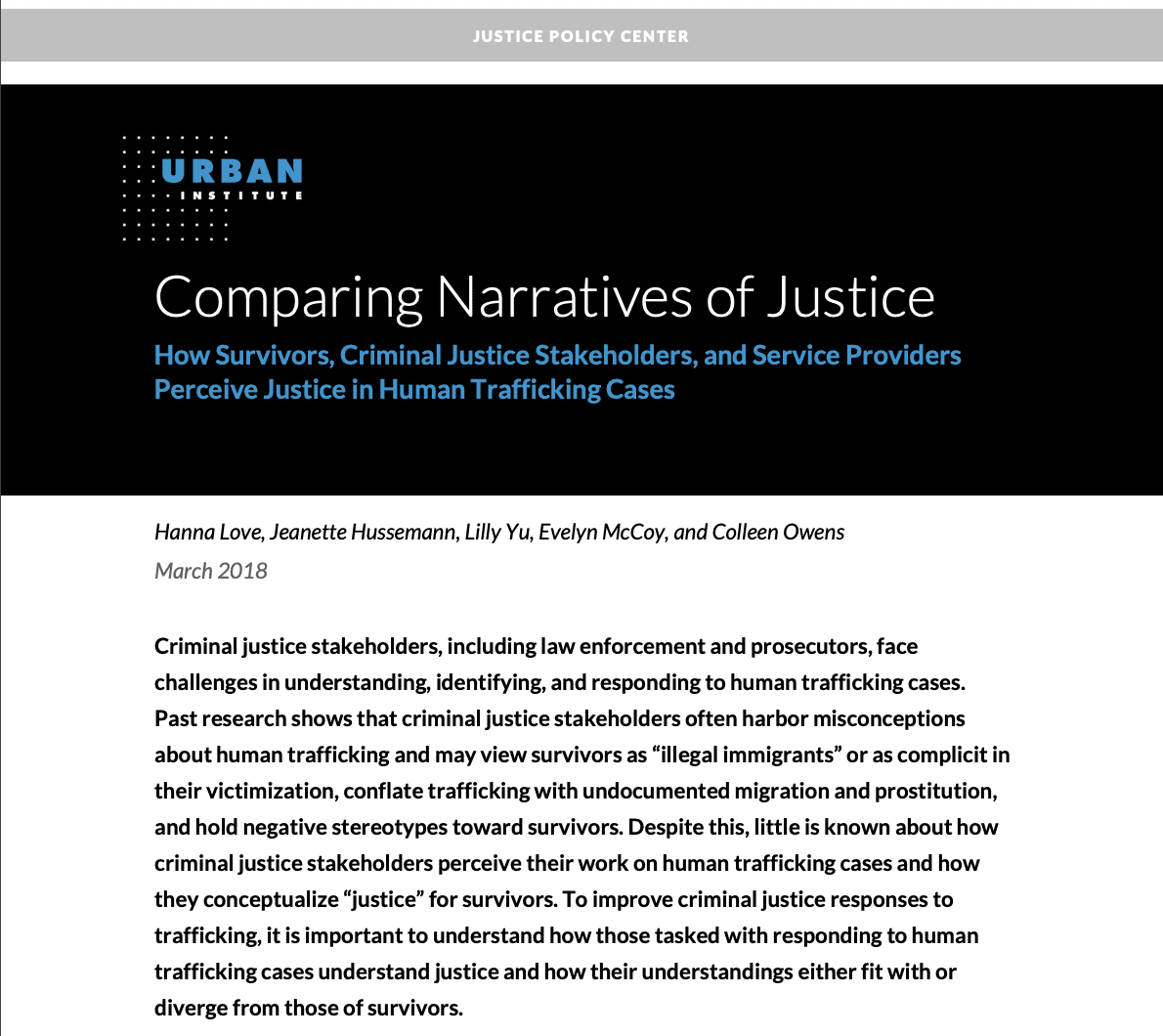 Comparing Narratives of Justice: How Survivors, Criminal Justice Stakeholders, and Service Providers Perceive Justice in Human Trafficking Cases