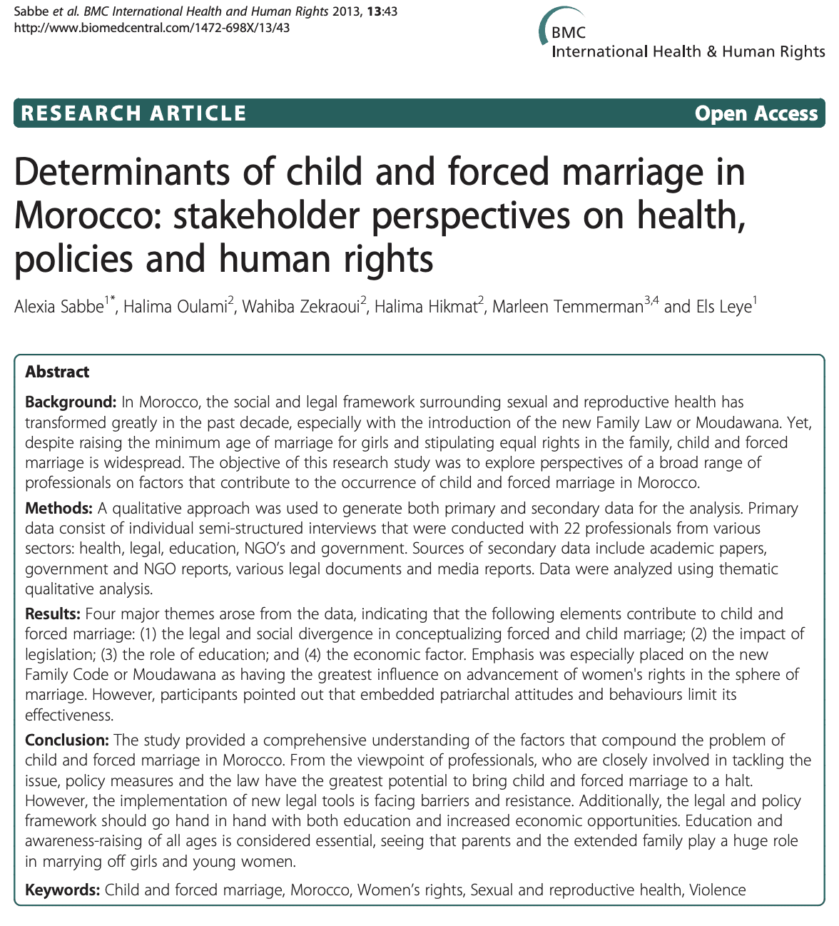Determinants of child and forced marriage in Morocco: stakeholder perspectives on health, policies and human rights
