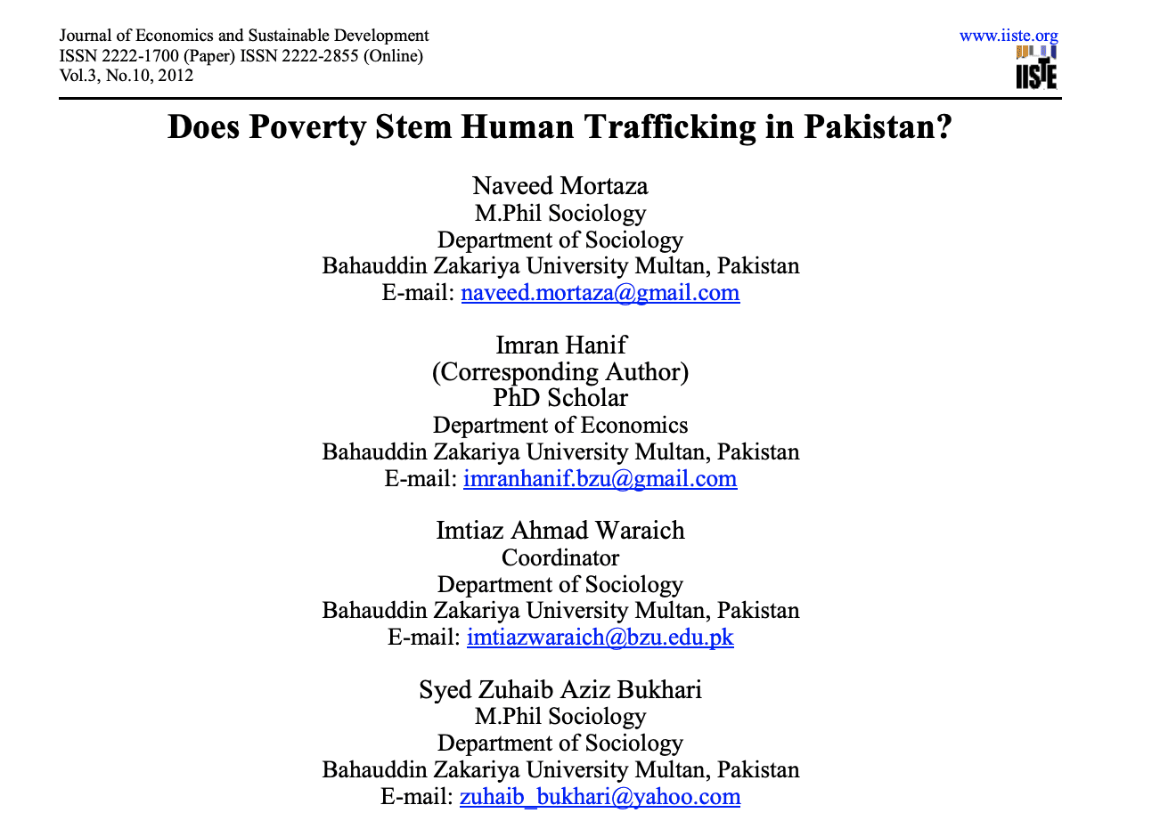 Does Poverty Stem Human Trafficking in Pakistan?