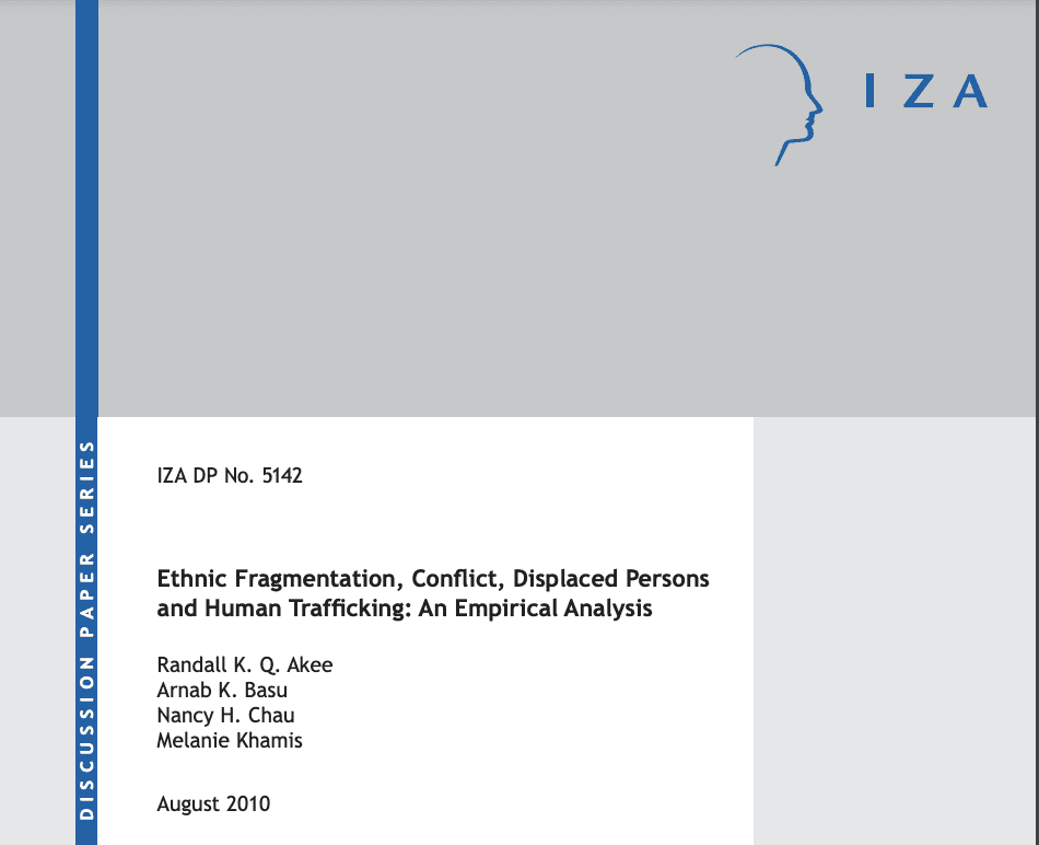 Ethnic Fragmentation, Conflict, Displaced Persons and Human Trafficking: An Empirical Analysis