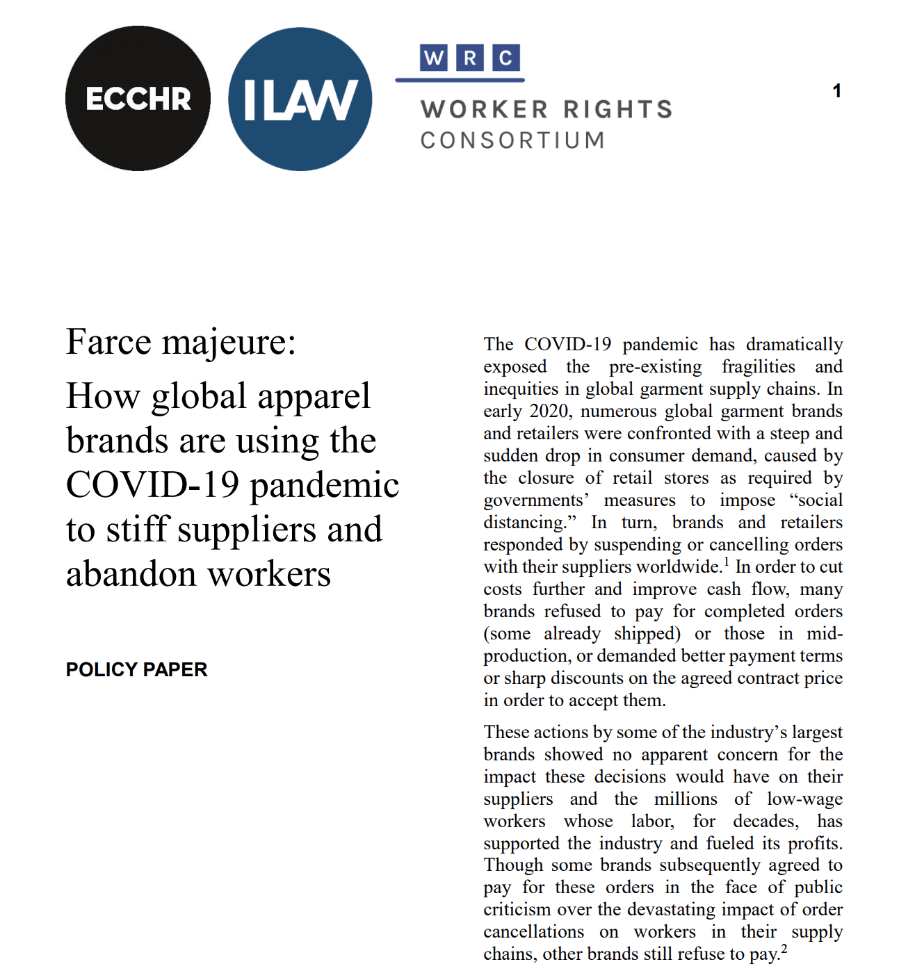 Farce majeure: How global apparel brands are using the COVID-19 pandemic to stiff suppliers and abandon workers