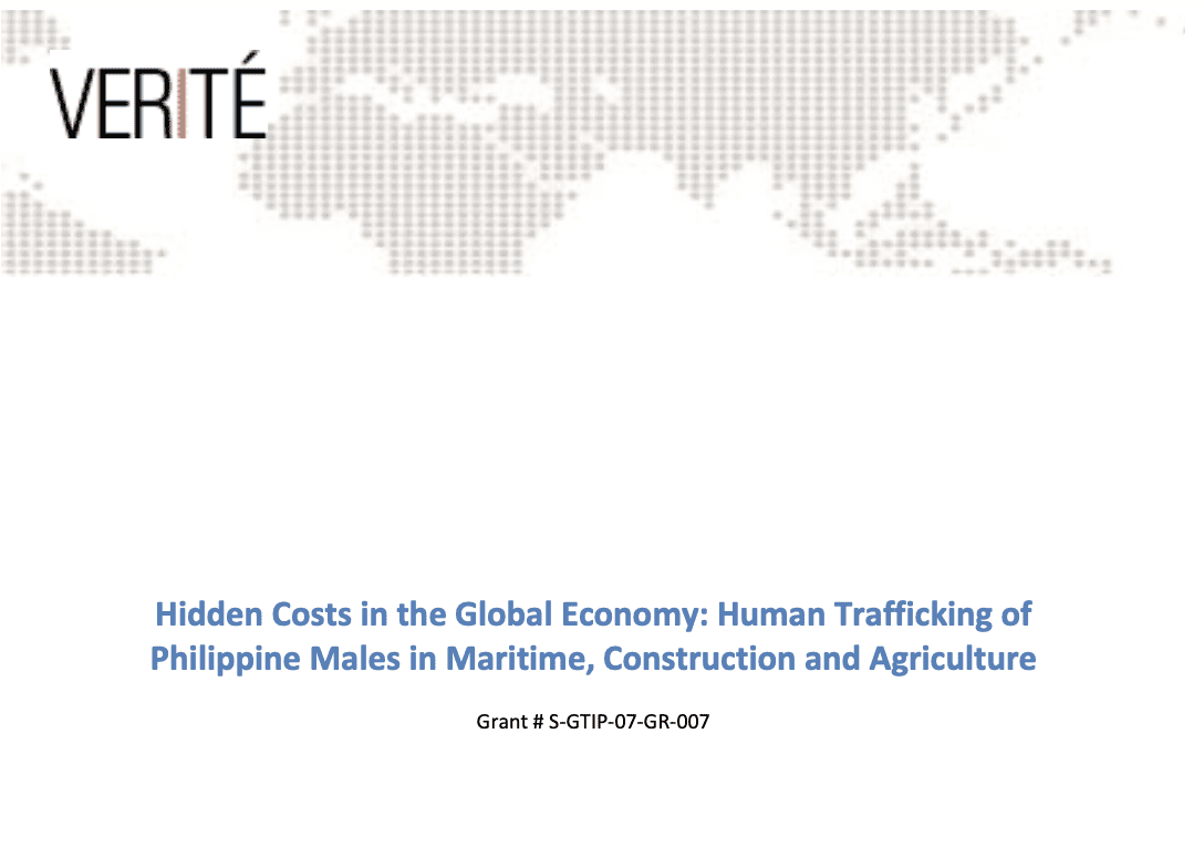 Hidden Costs in the Global Economy: Human Trafficking of Philippine Males in Maritime, Construction and Agriculture