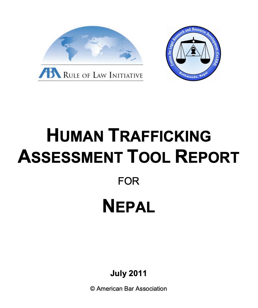 Human Trafficking Assessment Tool Report for Nepal